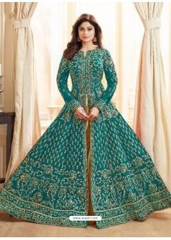 Teal Blue Latest Designer Mulberry Silk Indo Western Suit