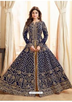 Navy Blue Latest Designer Mulberry Silk Indo Western Suit