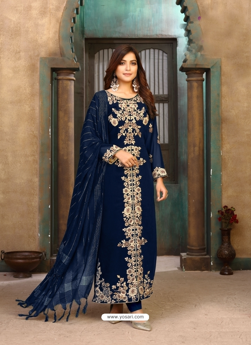 Navy Blue Latest Designer Faux Georgette Salwar Suit