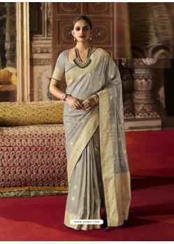 Grey Designer Classic Wear Crow Chat Silk Sari