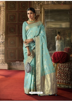 Sky Blue Designer Classic Wear Crow Chat Silk Sari