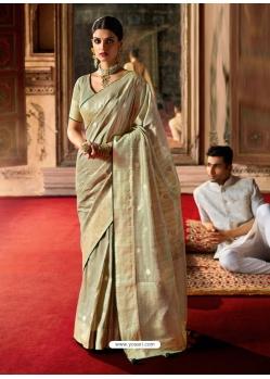 Gold Designer Classic Wear Crow Chat Silk Sari