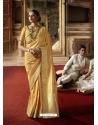 Yellow Designer Classic Wear Crow Chat Silk Sari