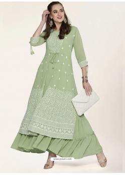 Pista Green Designer Party Wear Georgette Anarkali Kurti