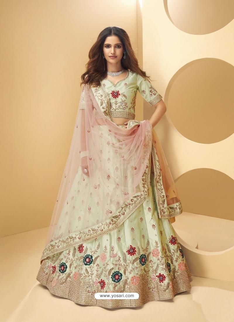 Pista Green Latest Designer Wedding Lehenga Choli
