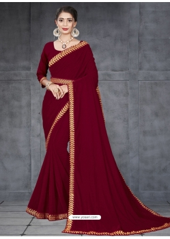 Maroon Designer Party Wear Velvet Sari