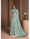 Grayish Green Designer Party Wear Sari
