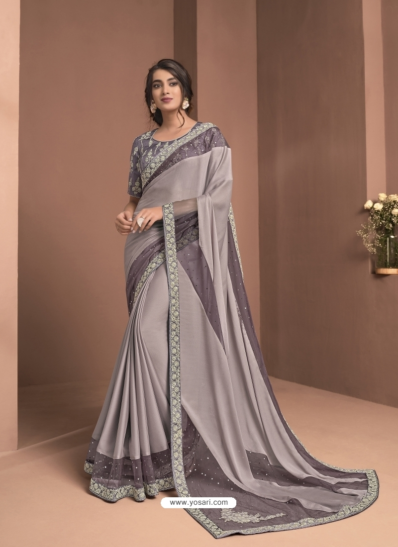 Mauve Designer Party Wear Sari
