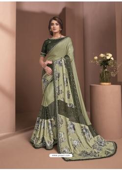 Olive Green Designer Party Wear Sari