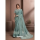 Aqua Grey Designer Party Wear Sari