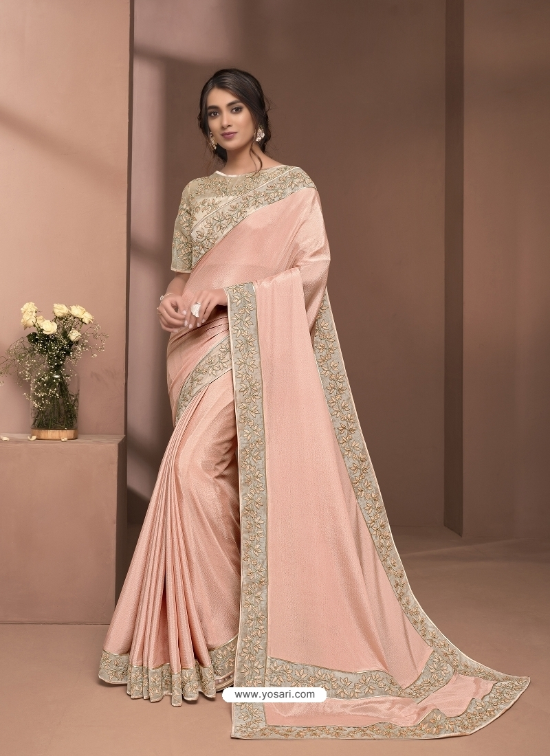 Light Orange Designer Party Wear Sari