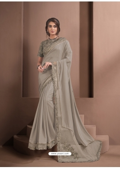 Light Brown Designer Party Wear Sari