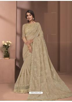 Gold Designer Party Wear Sari