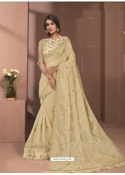 Cream Designer Party Wear Sari