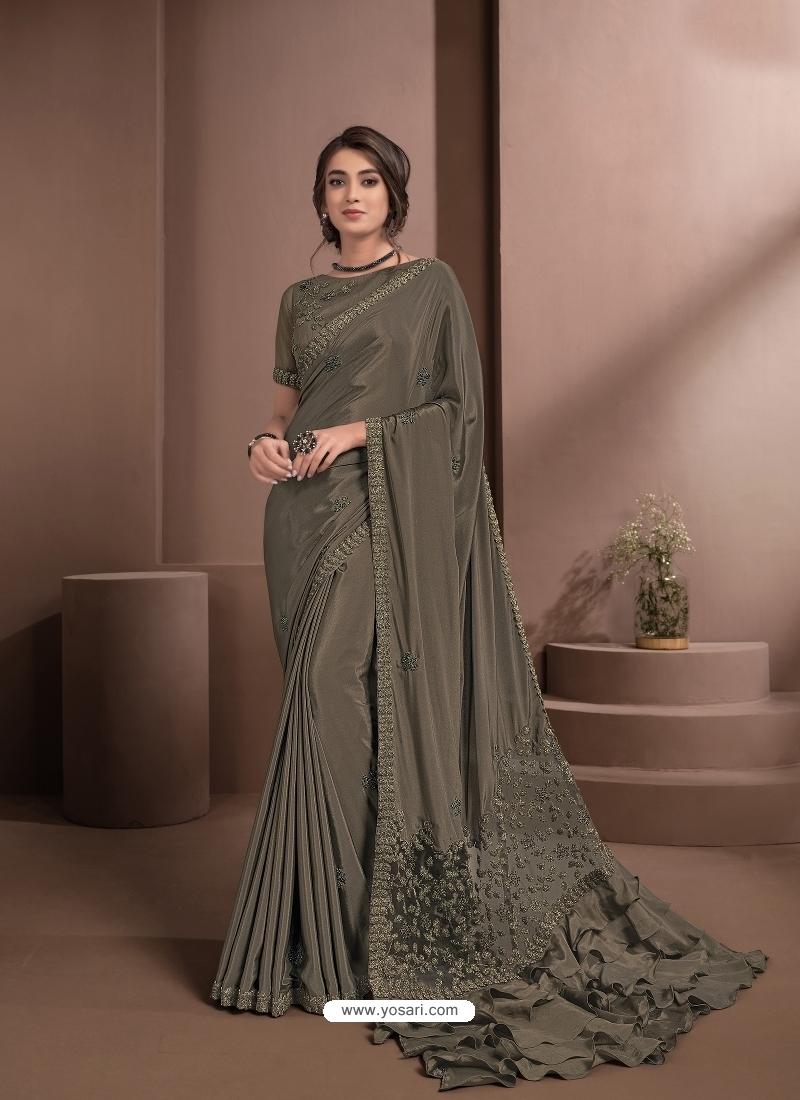 Taupe Designer Party Wear Sari