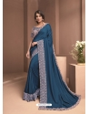 Teal Blue Designer Party Wear Sari