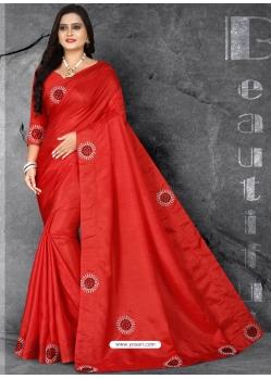 Red Designer Party Wear Dola Silk Sari