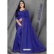 Royal Blue Designer Party Wear Dola Silk Sari