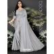 Light Grey Designer Party Wear Dola Silk Sari