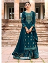 Teal Blue Readymade Designer Festive Wear Heavy Rayon Lehenga Suit