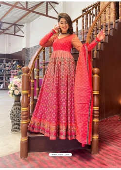 Peach Readymade Designer Festive Wear Chanderi Aanarkali Suit