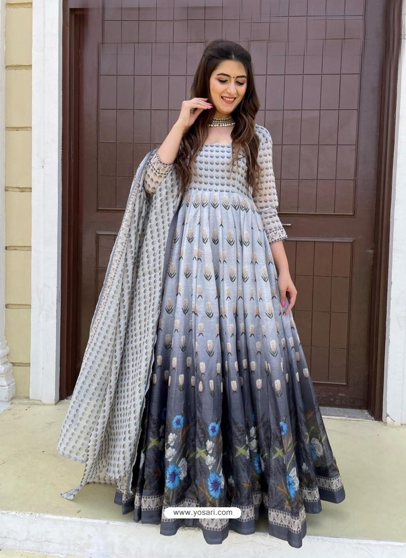 Light Grey Readymade Designer Festive Wear Chanderi Aanarkali Suit