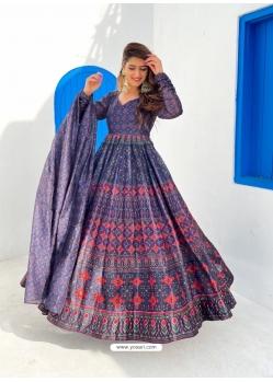 Teal Blue Readymade Designer Festive Wear Chanderi Aanarkali Suit