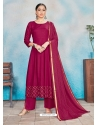 Rose Red Readymade Designer Party Wear Rayon Anarkali Suit
