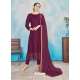 Deep Wine Readymade Designer Party Wear Rayon Anarkali Suit