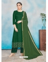 Forest Green Readymade Designer Party Wear Rayon Anarkali Suit