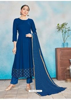 Dark Blue Readymade Designer Party Wear Rayon Anarkali Suit