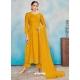Mustard Readymade Designer Party Wear Rayon Anarkali Suit