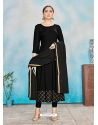 Black Readymade Designer Party Wear Rayon Anarkali Suit