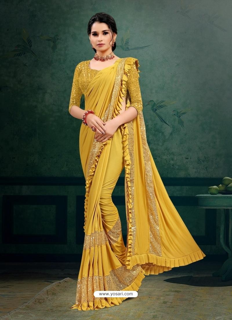 Mustard Designer Party Wear Imported Silk Lycra Sari