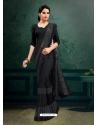 Black Designer Party Wear Imported Silk Lycra Sari