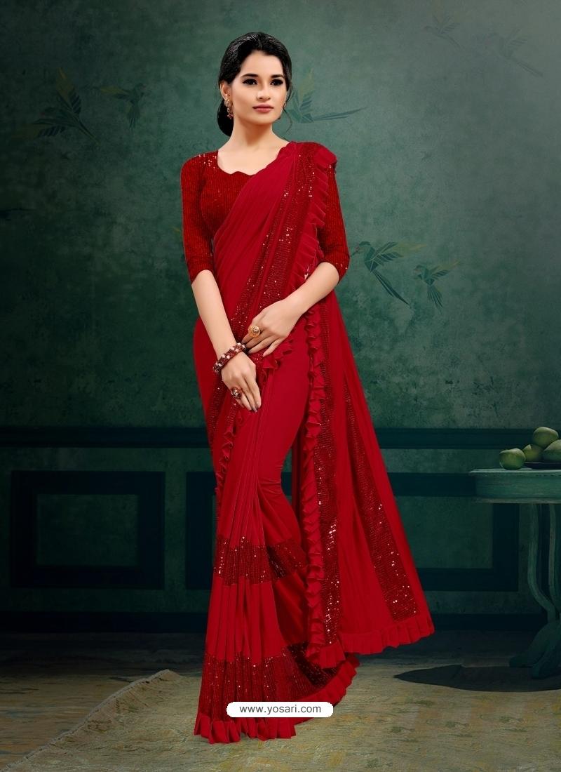 Red Designer Party Wear Imported Silk Lycra Sari
