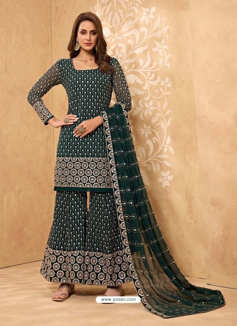 Teal Latest Designer Georgette Sharara Salwar Suit