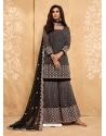 Dark Grey Latest Designer Georgette Sharara Salwar Suit