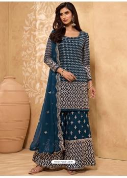 Teal Blue Latest Designer Georgette Sharara Salwar Suit