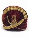 Maroon Designer Velvet Wedding Turban