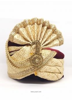 Cream Designer Velvet Wedding Turban