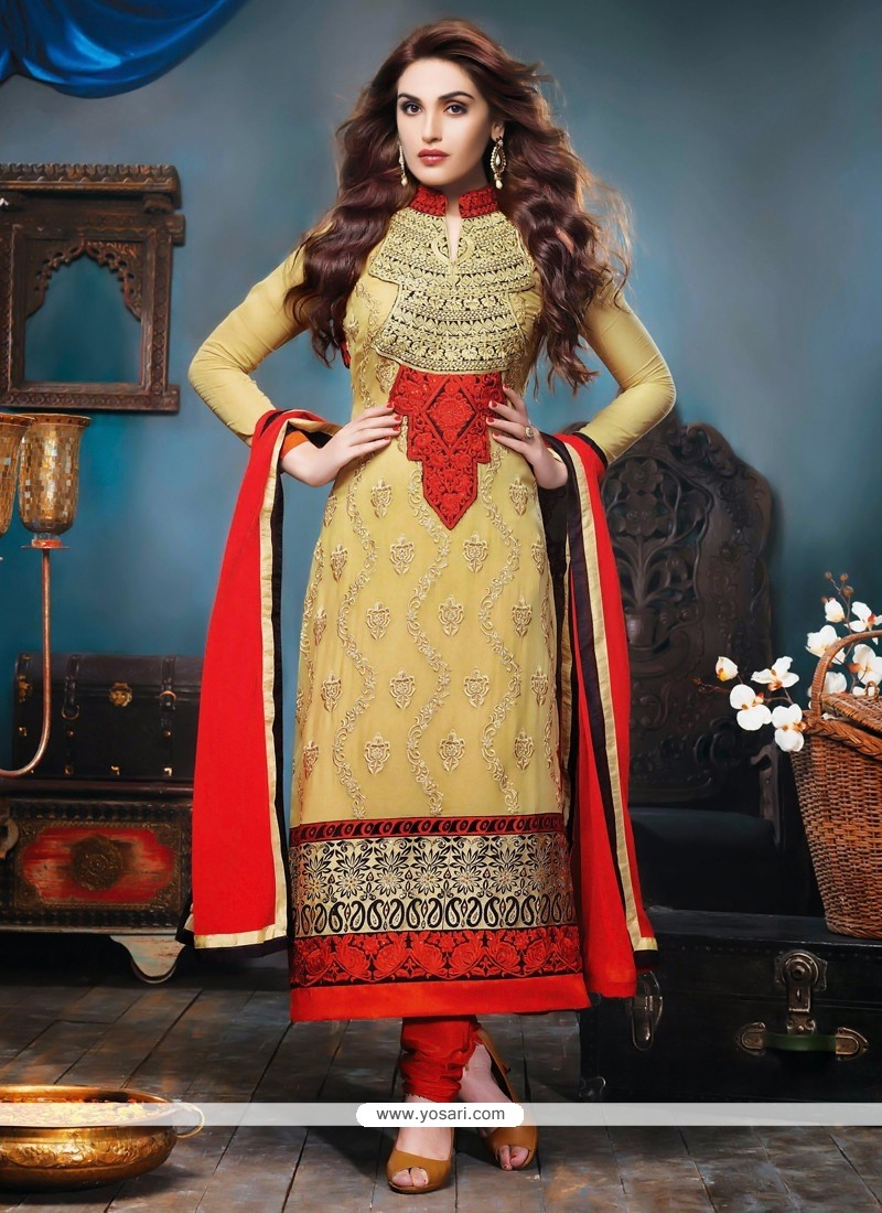 Cream Bamber Churidar Suit