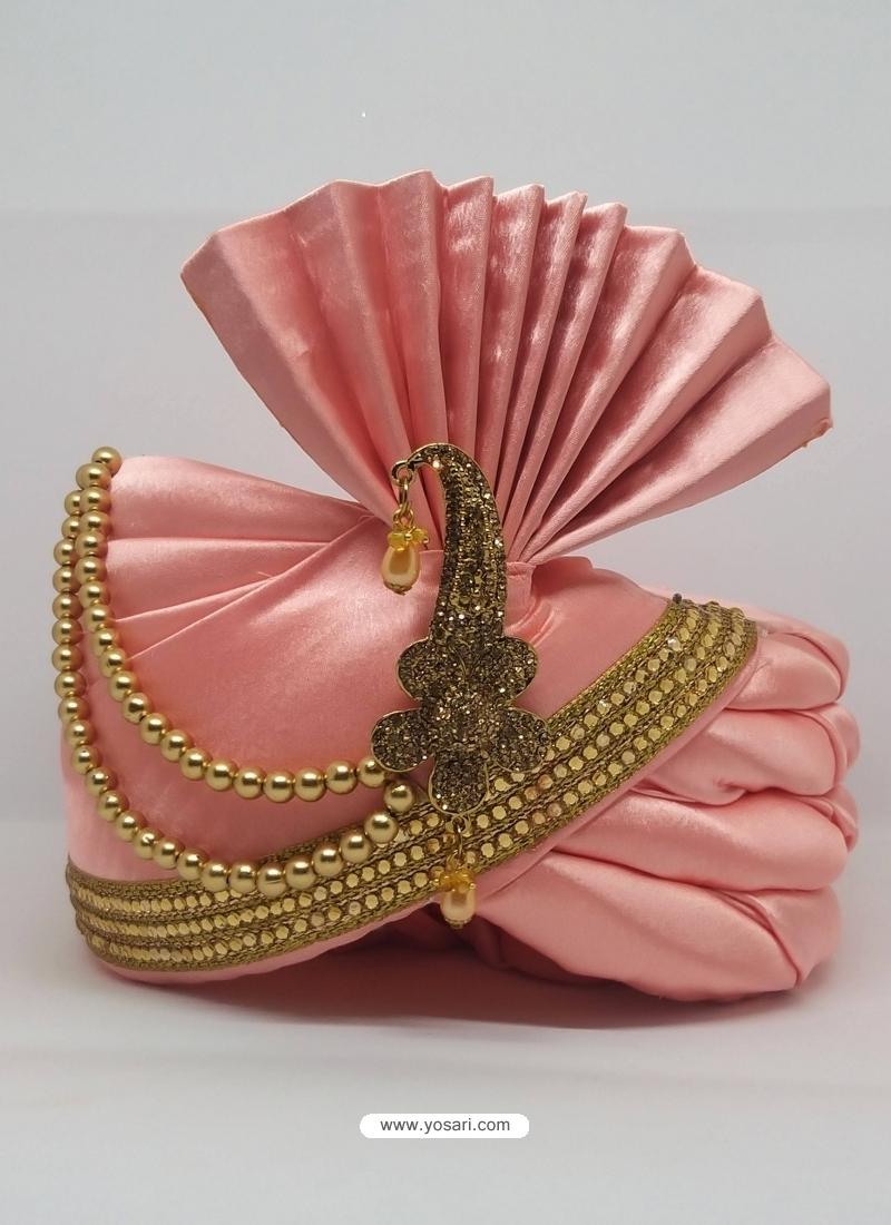 Pink Designer Heavy Satin Wedding Turban