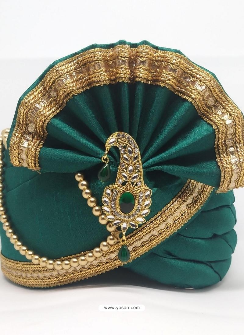 Teal Designer Dupion Silk Wedding Turban