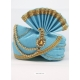 Blue Designer Dupion Silk Wedding Turban