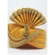 Yellow Designer Dupion Silk Wedding Turban