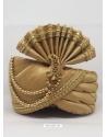 Beige Designer Dupion Silk Wedding Turban