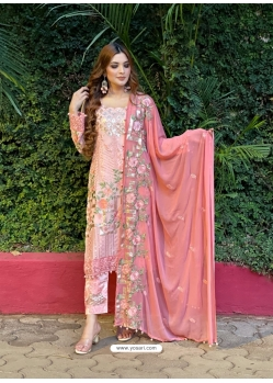Pink Latest Designer Georgette Straight Salwar Suit