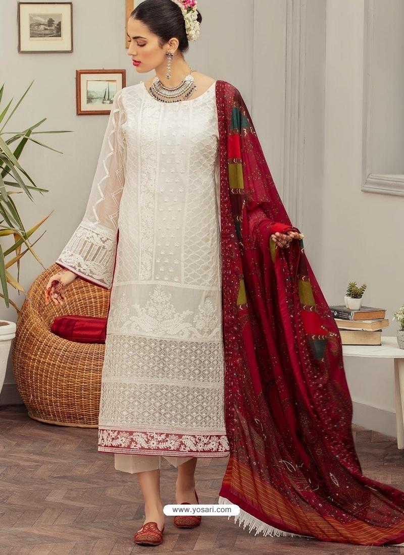 White Latest Trendy Long Straight Cut Salwar Suit With Designer Dupatta
