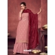Dusty Pink Latest Designer Georgette Palazzo Salwar Suit